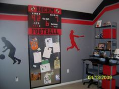 boys sports room | Sports Room, Logan LOVES all sports and so we tried to incorporate as ...