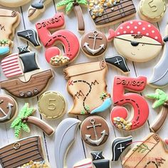 Create a variety of pirate themed sugar cookies and biscuits for children (and adults) of all ages to enjoy at your pirate themed party. Pirates, treasure chests, pirates treasure, treasure maps and swords means there will be plenty for everyone. Pirate Birthday Cake, Pirate Cupcake, First Birthday Party Themes, Boy Birthday Parties, Birthday Cookies, 5th Birthday, Golden Birthday, Themed Parties, Birthday Gifts