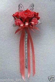 This lovely Bridesmaids/Flower-Girl wand has velvet touch larger Coral Roses with a Diamante in each Rose and smaller Coral Roses in a slightly lighter shade. Beautiful Bridesmaids/Flower-girl wand in Coral Roses and sparkly Silver ribbon. Bridesmaid Flowers, Wedding Bridesmaids, 10 Tier Wedding Cakes, Lollipop Lollipop, Flower Girl Wand, Wedding Designs, Wedding Ideas, Wedding Wands, Cyprus Wedding