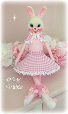 Vintage pink Easter bunny knee hugger <3