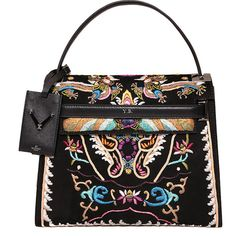 VALENTINO GARAVANI Suede and leather bag with embroidery (12.920 RON) ❤ liked on Polyvore featuring bags, handbags, purses, bolsas, multi, multi colored handbags, genuine leather handbags, valentino handbag, colorful purses and multicolor handbags