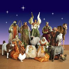 Life Size Nativity Set in - 5 ft. scale 15 piece $5,299.00 These premium quality Nativity Dolls have soulful resin faces and hands, beautiful fabric clothes and amazing metal decorations.  Realistic plush ride on Camel,