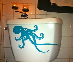 OCTOPUS toilet DECAL Home Decor Vinyl Wall Art by EyvalDecal