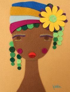 Handmade Felt Art African Woman Portrait Cloth Head Wrapping Wall Hanging