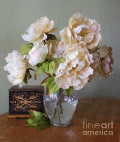 Traditional still life of a bouquet of peonies in a glass vase with reflections from the window and a small hand painted wooden box by Susan Schroeder.
