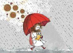 umbrellas.quenalbertini: Under my red umbrella