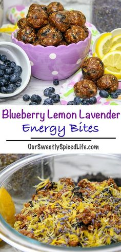 Whip up a batch of the best no bake Blueberry Lavender Lemon Energy Bites! - healthy snacks for work - Healty Snacks Healthy Homemade Snacks, Healthy Sweet Snacks, Healthy Protein, Simple Snacks, Quick Snacks, Healthy Brunch, Protein Snacks, Healthy Appetizers, Healthy Eats