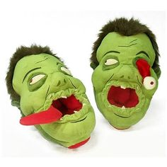 zombie ear muffs | Zombie Afoot Slippers Eyeball Green Plush Kooky Undead Geek Novelty ...