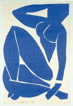 Henri Matisse, Nu bleu II 1952. Papiers gouachés découpés et collés sur papier…