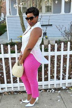 Hot pink polka dots + vintage accessories