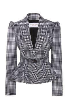 Michael Kors Collection Prince of Wales Checked Peplum Wool Blazer Blazer Jackets For Women, Blazers For Women, Business Attire, Business Fashion, Look Blazer, Casual Blazer, Classy Work Outfits, Blazer Pattern, Peplum Jacket