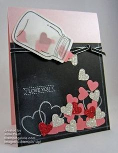 a Flutter Jar of Hearts card - nice use of materials and there is a video tutorial on her site.Hearts a Flutter Jar of Hearts card - nice use of materials and there is a video tutorial on her site. Tarjetas Stampin Up, Stampin Up Cards, Love Cards, Diy Cards, Valentine Day Cards, Holiday Cards, Mason Jar Cards, Jar Of Hearts, Karten Diy