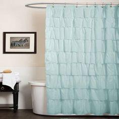 Lush Decor Ruffle Aqua Blue Shower Curtain