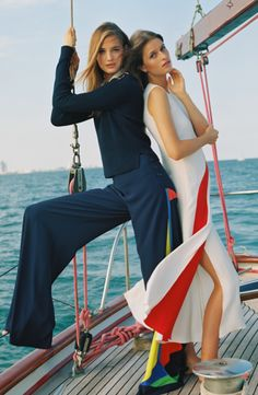 Ship mates: graphic bateau prints in a vivid mix of color emboldens the voyager with a sense of glamour