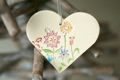 Ceramic Flower Heart Christmas Decoration Colorful by Ceraminic