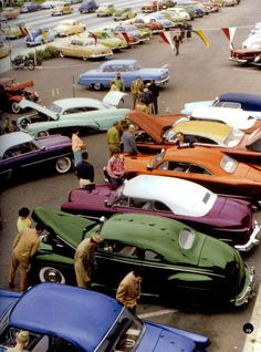 Pinned by http://FlanaganMotors.com.  Custom Cars | 1950s Car Show.  Hard to imagine a time when those cars were an everyday sight.