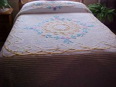 White Chenille bedspread with circle of multicolor by designer2, $124.95