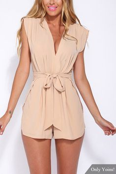 Semi Sheer V-neck Sleeveless Self-tie High Waist Playsuit from mobile - US$21.95 -YOINS