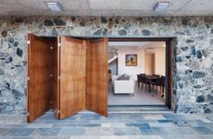 Traditional outside and contemporary inside.The new sliding door