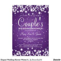 Elegant Wedding Shower Winter Sparkle Purple Card