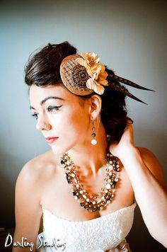 Bridal Fascinator Hat  Bronze CreamBeige Flowers by LaCocoRouge