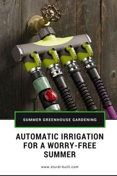 Automatic Irrigation for Greenhouses by Sturdi-Built Water Irrigation, Drip Irrigation System, Greenhouse Gardening, Greenhouse Ideas, Flower Gardening, Garden Watering System, Automatic Irrigation System, Garden Sprinklers, Drip System