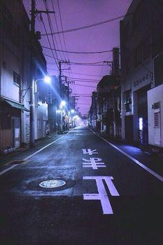 aesthetic, buildings, dark, goth, grunge, lights, neon, punk, purple, purple sky, sky, street, tumblr, lockscreen, tumblr sky
