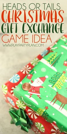 This fun heads or tails gift exchange is perfect for any Christmas party - unisex, family, or even kids! And perfect for office parties. Set a $10 or $20 limit, decide white elephant or not, then use these ideas for the best gift exchange games ever. All you need is a coin, a little holiday spirit, and people to play!