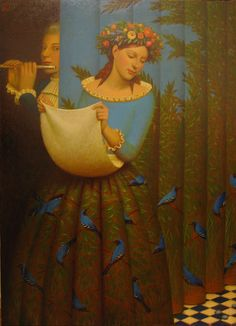 """Papagena and Papageno""                     Andrey Remnev, 2007    Tempera on canvas."