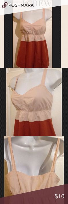 """J.CREW Beige, Rust Brown Cotton Top   Size 4 J.CREW  Pretty Beige, Rust Brown Cotton Top Shirt   Size 4 SMALL -- Please see measurements.   Great for a Beach or Casual wear or an evening out.   The top is made from a lightweight cotton. The top is lined and has the snaps to hold your bra straps in place.  It has elastic under the bust then loose fitting.  Measurements are taken laying flat.  Underarm to Underarm 18.25""""Shoulderto Hem 26""""Width at bottom hem 23.5"""" Item is pre-owned in…"""