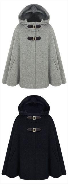 Women's Winter Wool Blend Hooded Cape Cloak Coat                                                                                                                                                                                 More