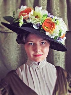 Hat Trick: Instant Edwardian Glamour Using a Wreath and Wide Straw Hat Tutorial | No agonizing over color scheme, no tedious arranging and rearranging of every single flower, and no waiting! It's a snap!