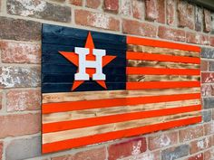Astros burnt wood style flag with burnt and orange or blue and orange stripes. Mounting hardware attached, ready to hang! Astros Team, Burnt Wood, Sports Flags, Mini Flags, Wood Flag, Vegas Golden Knights, Houston Texans, Friends In Love, Wood Burning