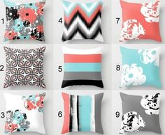 coral and teal accent bed pillows