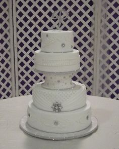 White on white wedding cake.
