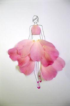 17 ideas fashion art creative flower dresses for 2019 Pink Drawing, Dress Drawing, Drawing Flowers, Art Flowers, Art Floral, Flower Fashion, Fashion Art, Dress Fashion, Flower Sketches