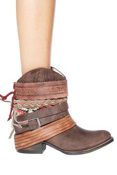 Deconstructed denim? Meet your new best friend: the deconstructed cowgirl boot. Women's Freebird by Steven Mezcal Bootie via Singer22