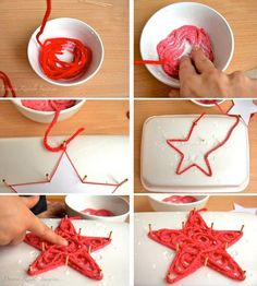 Glue Soaked Yarn Ornaments There are just so many creative ways to make a Christmas tree ornament! This has to be one of my top 3 favorites. It's a very simple method… just soak yarn in glue and create a shape of your choosing using pegs in styrafoam. You can easily make a star or tree with this technique