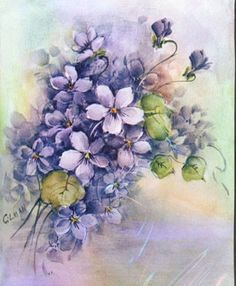 Vintage Floral Art Prints | Vintage Floral Art Print Beauiful Purple Flowers by superimposium