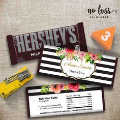 Hersheys, Hershey Chocolate, Chocolate Gifts, Candy Bar Gifts, Candy Bar Labels, Candy Bar Wrapper Template, Candy Bar Wrappers, Wedding Gifts For Guests, Gold Stripes