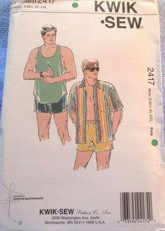 Kwik Sew Pattern 2417 Man's Shirt Swim Trunks Tank Top Sizes S M L XL XXL Uncut #KwikSew #Top