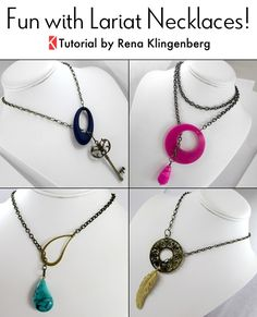 Fun with Lariat Necklaces - Tutorial by Rena Klingenberg-Make lariat necklaces with components you already have in your jewelry stash!
