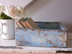 Shabby Chic blue wooden box