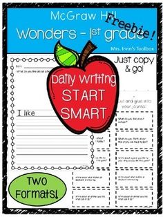 Two formats for differentiated learning: Printable packet with sentence starters for all students or cut & glue prompts for journals for more advanced writers. These prompts are aligned with the daily topics and lessons in the McGraw Hill Wonders reading program.