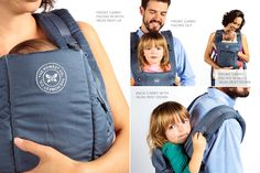 Baby Carrier-The Honest Company 4-in-1 — front carry (facing in and facing out), back carry, and hip carry Light gray Machine washable Instruction manual included Shell: 100% organic cotton Fill: 100% polyurethane (body & shoulder foam), 100% polyethylene (contains NO flame retardants) Packaging: 100% recycled content, printed with soy-based inks Honestly Free of: flame retardants, phthalates, vinyl & PVC