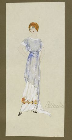 1912 White evening dress with train and band of gold leaves, with blue and white chiffon tunic. | Jeanne Paquin | V&A Search the Collections