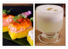 R: causa and L: pisco sour