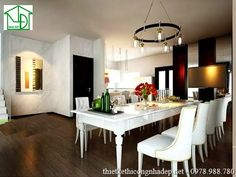 Nội thất phòng ăn được thiết kế với phong cách cổ điển kết hợp hiện đại