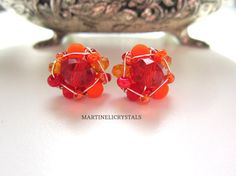 Your place to buy and sell all things handmade Swarovski Crystal Earrings, Rhinestone Earrings, Wire Wrapping Crystals, Great Wedding Gifts, Neon Colors, Jewelry Sets, Special Gifts, Wedding Jewelry, Bridesmaids