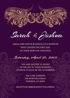 WEDDING INVITATION  Deep Purple Gold Printable by ScriptureWallArt, $12.00